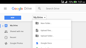 google drive drop down menu