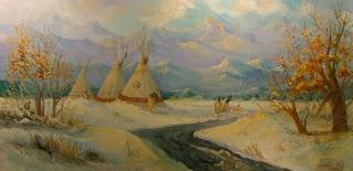 oil painting of teepees by artist, Aletha Deuel