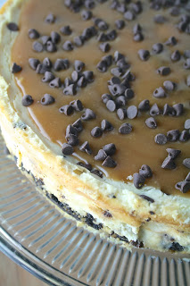 Salted Caramel Chocolate Chip Cheesecake