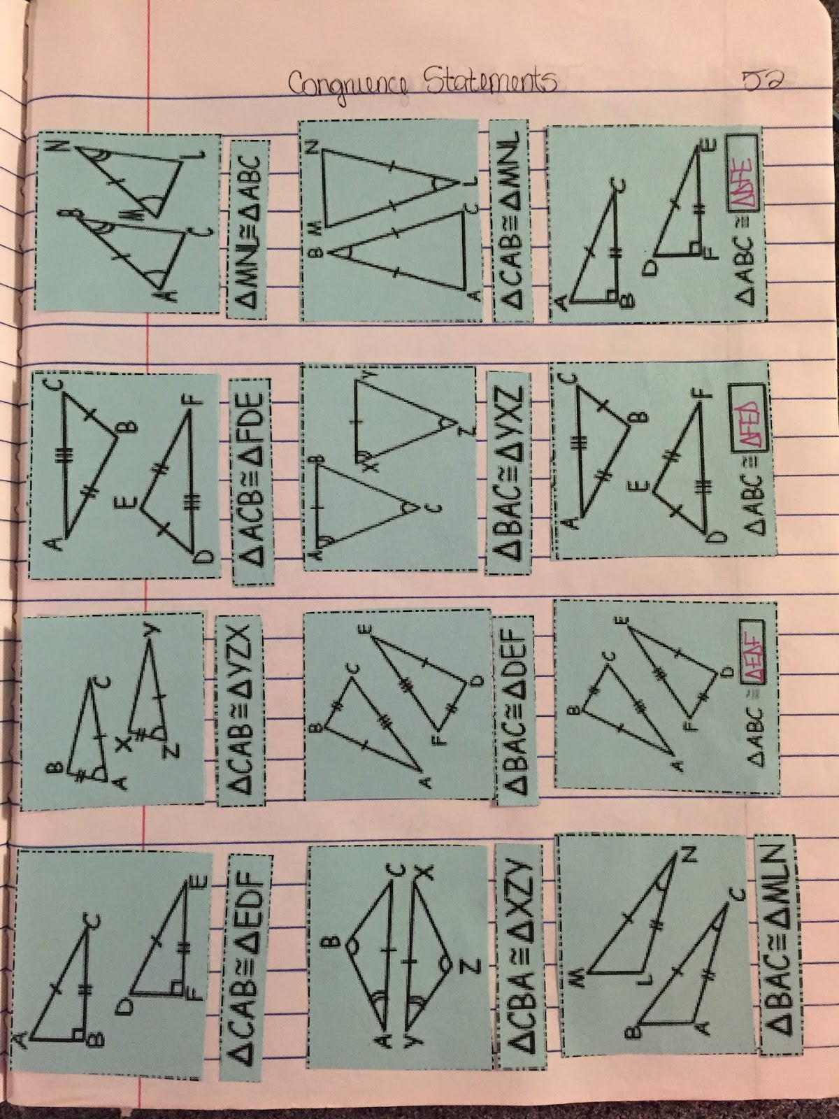 Misscalcul8 Geometry Unit 5 Congruent Triangles Interactive Notebook