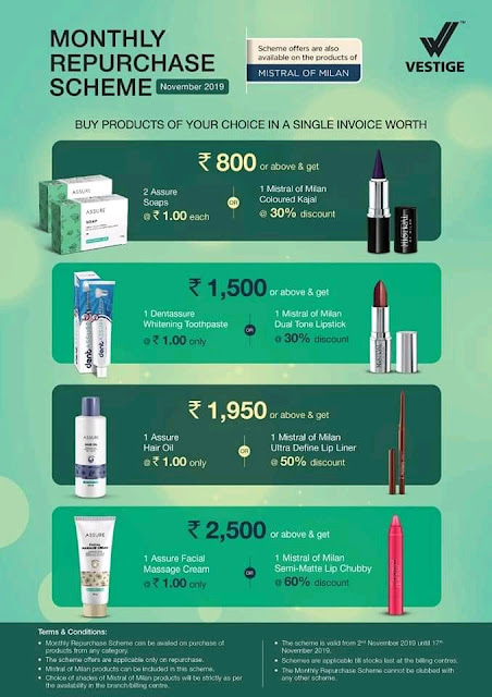 Vestige Re-Purchase Offer November 2019 for Distributors