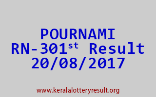 POURNAMI Lottery RN 301 Results 20-8-2017
