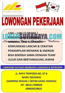 Walk In Interview di Indo Therapy Surabaya Terbaru Juni 2019