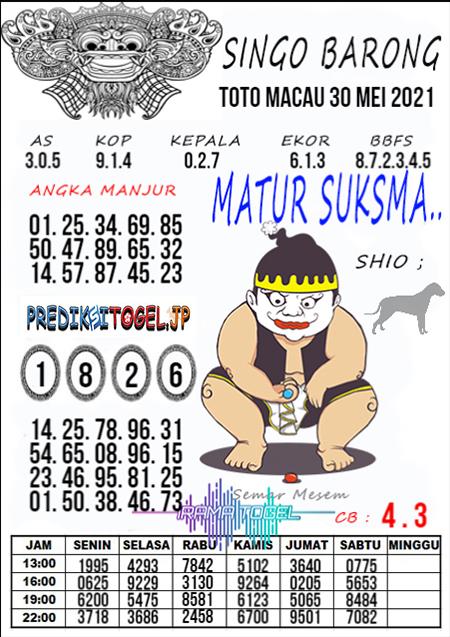 Syair Top Singo Barong Toto Macau Minggu 30 Mei 2021