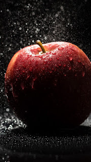Apple Droplets Dark Background Mobile HD Wallpaper
