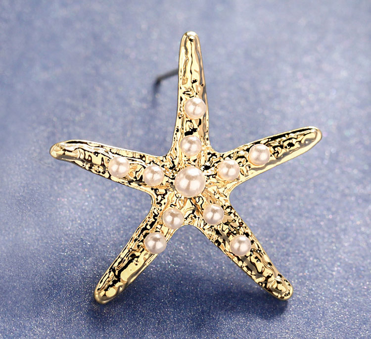 優雅海星擬珍珠耳環