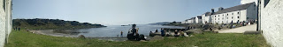 A panorama of the sea front at Laphroaig