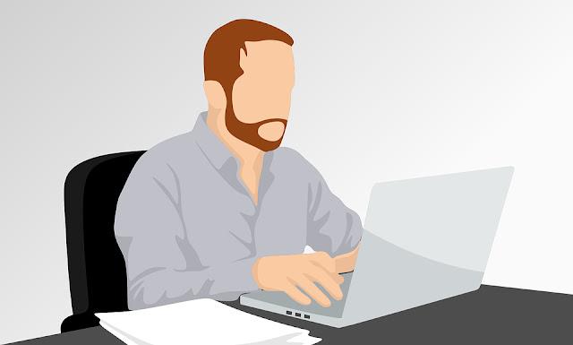 Gambar Vektor Orang Kerja di depan laptop