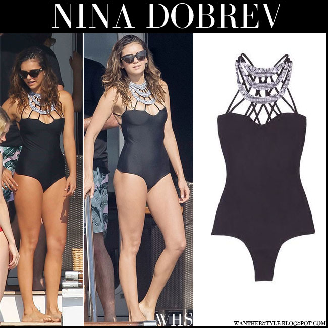 4b534ad62a933 Nina Dobrev in black one piece cut out details issa de mar swimsuit  vacation summer what