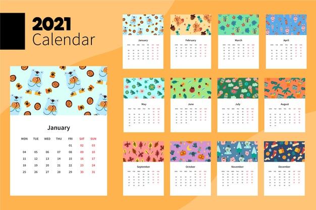 Calendario 2021 mensual con ilustraciones de osos