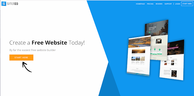 Site123 a Platform to create a free blog or make a free Web page websites