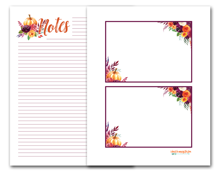 Fall Note Card Printables