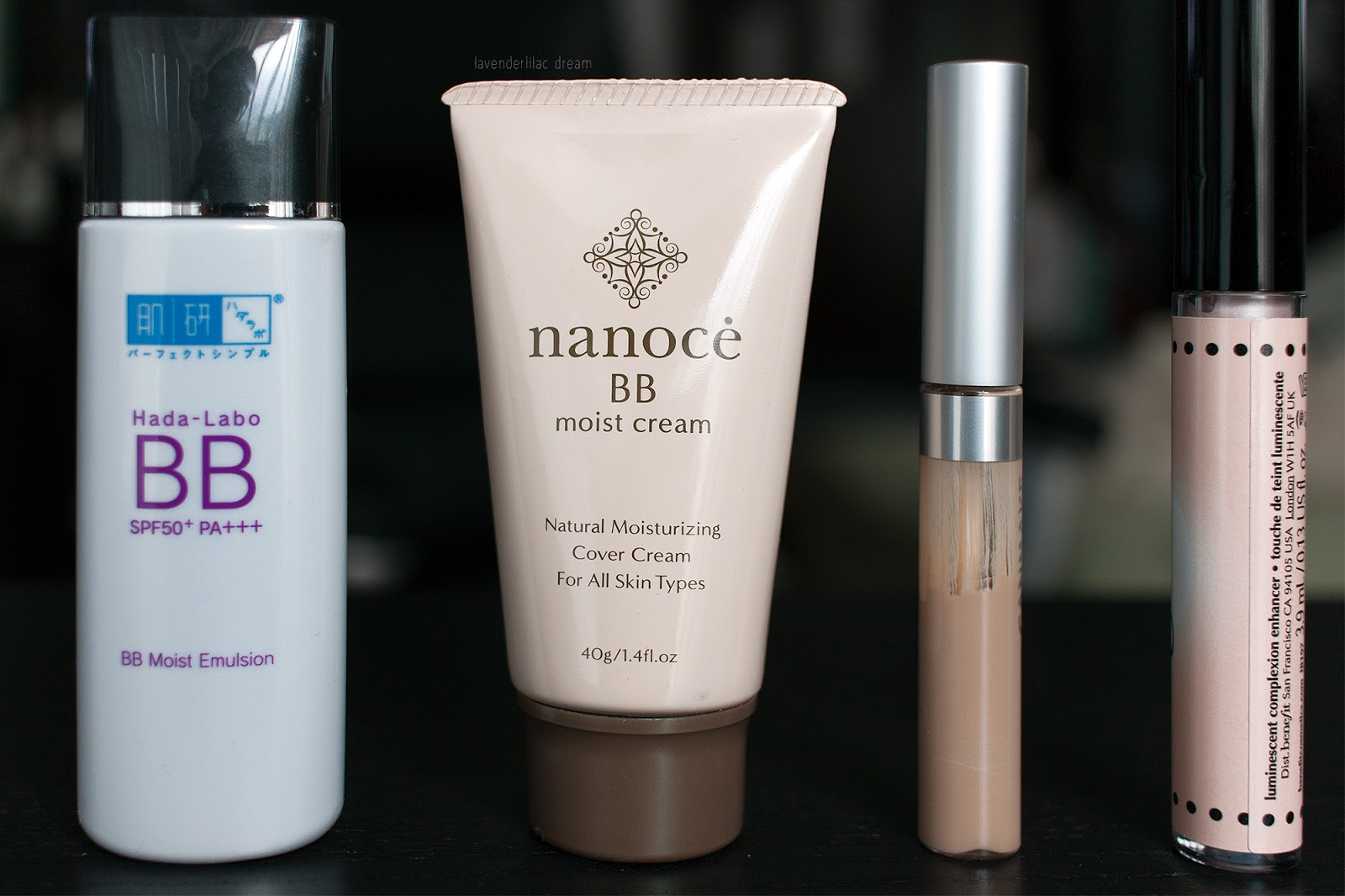 Hada Labo BB Moist Emulsion, Nanoce BB Cream, Canmake Cover & Stretch Concealer UV, Benefit Highbeam Half way results highlighter
