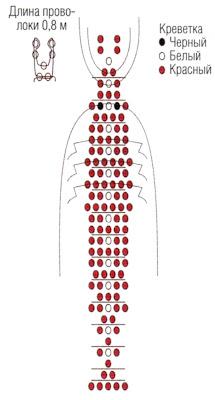 Животные из бисера объемные креветки. Схема плетения