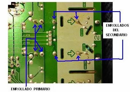 puntos del impreso para medir enrollados secundarios y primarios en TV LCD Sylvania LD320SS8