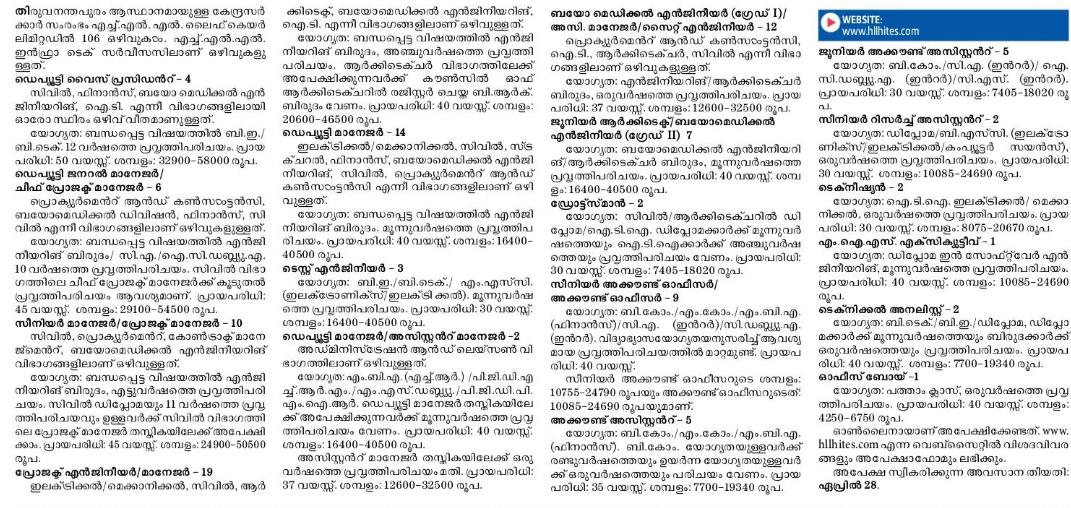 HLL Lifecare Limited Recruitment 2020 -106 Various Vacancies