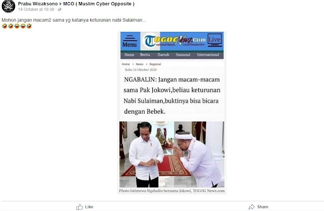 Cek Fakta: Benarkah Jokowi Disebut Sebagai Keturunan Nabi Sulaiman karena Bisa Bicara dengan Bebek?