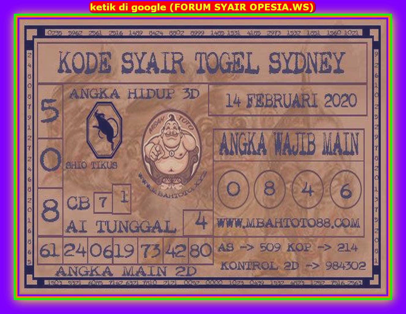 Kode syair Sydney Jumat 14 Februari 2020 85