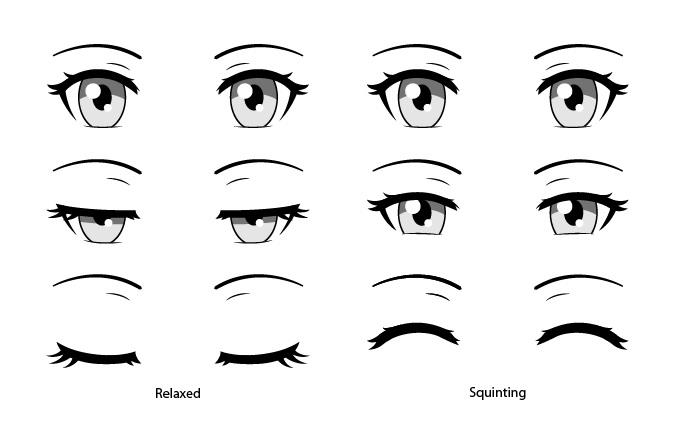 Mata anime menutup dan menyipitkan mata