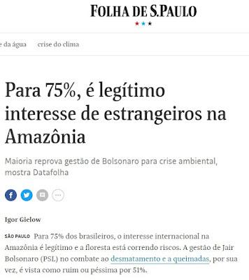 Print de matéria da Folha de São Paulo, dia 02/09/2019