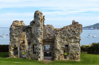 Sandsfoot Castle with Portland Harbour in the background