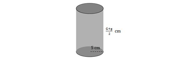 Cilindro reto de raio 5 cm