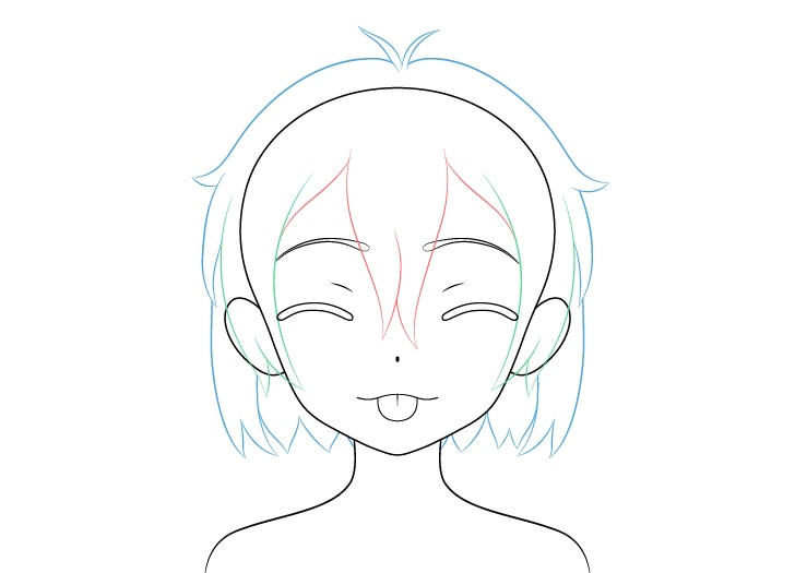 Gadis anime lidah keluar menggoda menggambar rambut wajah