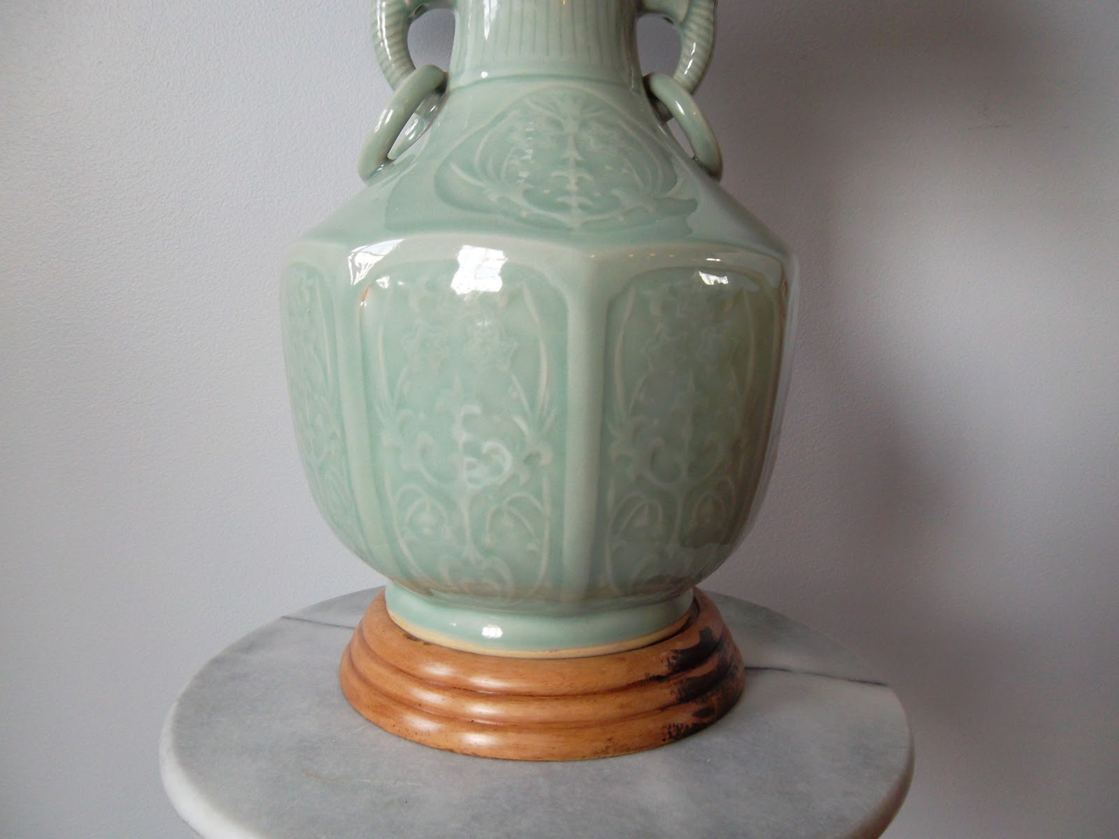 You can use most any vase or container to make a lamp. I used two vases  that I found at a garden supply store.