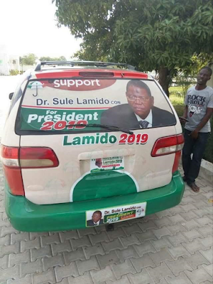 'Sule Lamido for President 2019' campaign vehicle spotted in Jigawa