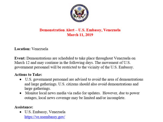 Demonstration Alert - US Embassy, Venezuela | MARCH 11, 2019