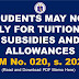 STUDENTS MAY NOW APPLY FOR TUITION FEE SUBSIDIES AND ALLOWANCES (DM No. 020, s. 2021)