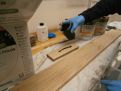 The oil is applied to the wood