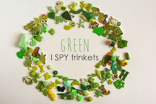green TomToy Colorful I spy trinkets, Rainbow miniatures, Rainbow I spy bag filler, Colors I spy bottle, Color sorting activities, Color matching games
