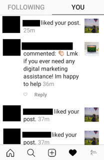 Instagram comment with nothing but an ad for the author