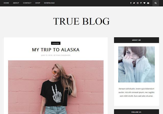 True Blog Free Blogger Theme
