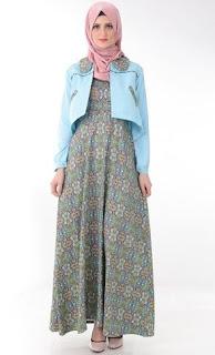 Gamis-Batik-Kombinasi-Blazer-Polos
