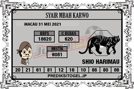 Syair Mbah Karwo Togel Macau Senin 31 Mei 2021