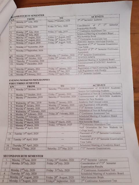 KADPOLY academic calendar