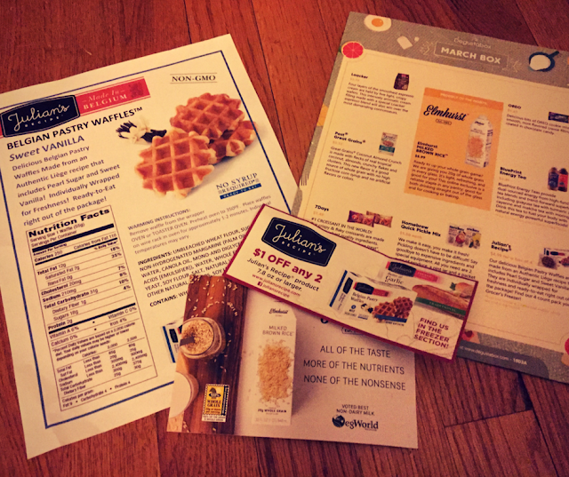 Degustaboxes often have informational sheets and coupons enclosed