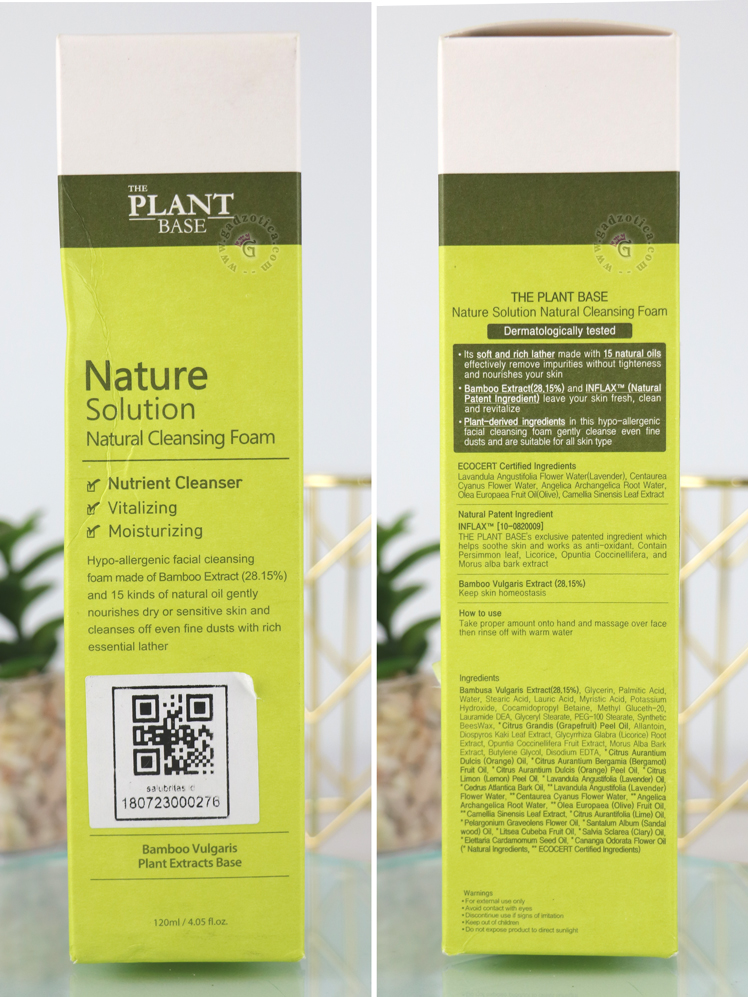 The Plant Base Nature Solutions Natural Cleansing Foam Ingredients