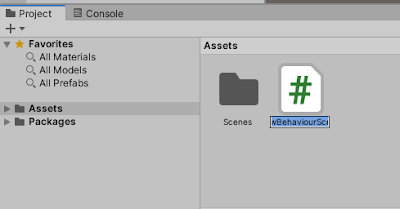 created script in project panel of unity editor