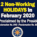 2 Non-Working Holidays in February 2020