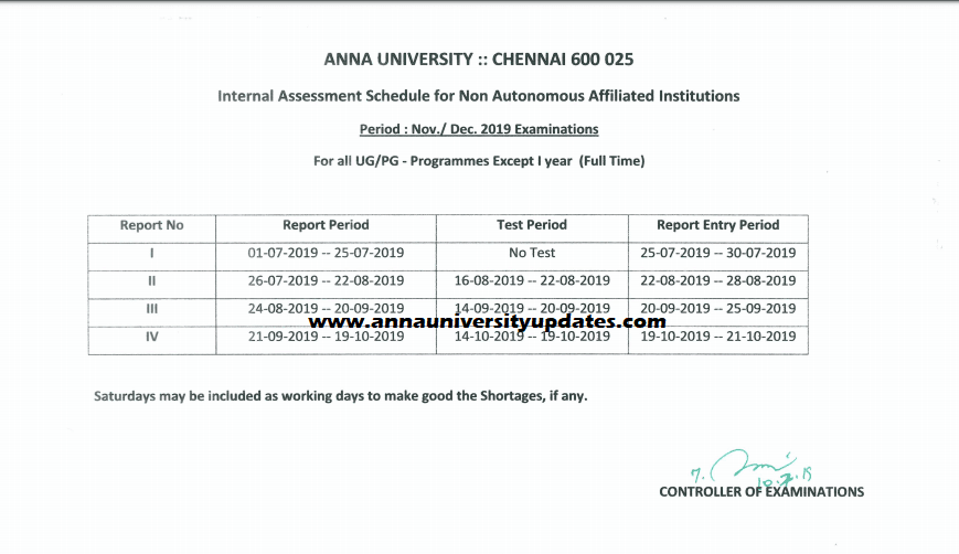 Academic and Assessment Schedule - Nov./Dec. 2019 - ODD Semesters (Except First Semester)
