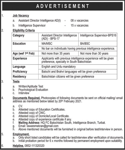 Headquarter Frontier Core Jobs 2021 in Turbat Balochistan