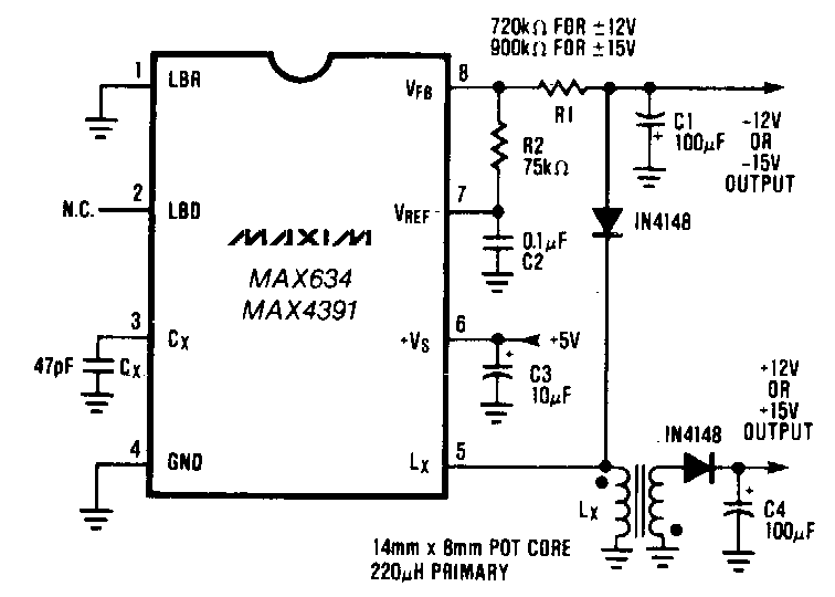 Dual Output dc-dc Converter Circuit Diagram