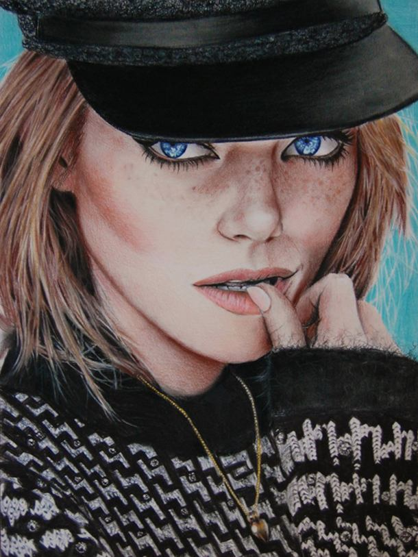 Emma Stone Color Pencil Drawing By Valentina Zou