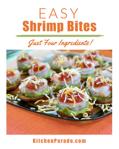 Easy Shrimp Bites ♥ KitchenParade.com, just four pantry ingredients, a snap to assemble.