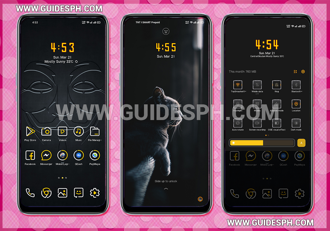 Golden Black Theme Oppo and Realme Android Version 10 ColorOS 7