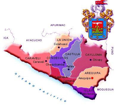 Dibujo del Mapa de Arequipa junto a su escudo de armas