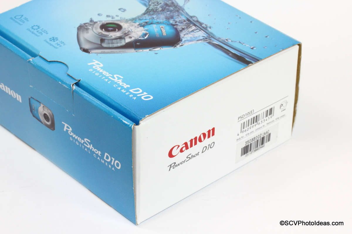 Canon PowerShot D10 Camera Box Labels